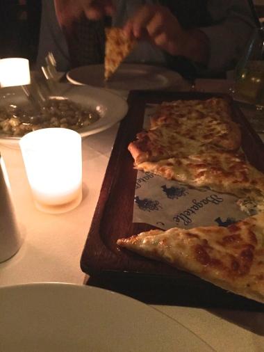Pizza a la truffe noir and truffled gnocchis