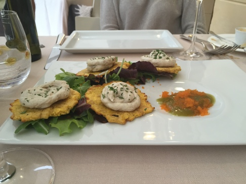 """Tostones"" topped with baccala mantecato"