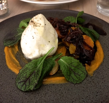 Burrata with roasted heirloom sweet potato, grilled onion, arugula, and saba