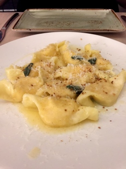 Pumpkin agnolotti with butter and sage
