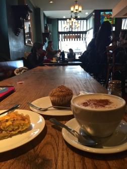 Vanilla chai latte, quiche lorraine, and muffin