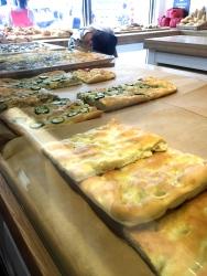 Olive, zucchini, and onion focaccia