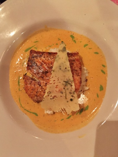 Salmon Fillet with Risotto and Lobster Sauce