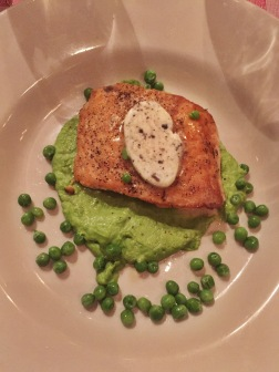 Roasted Salmon with Black Truffle Butter and Sweet Pea Purée